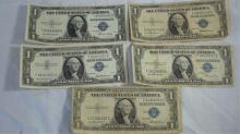 5 Series 1957 $1 Silver Certificates