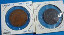 2 Canadian Coins 1837 Half Penny 1893 One Cent