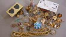 Lot of Miscellaneous Jewelry Earrings, Pins, Beads