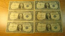 (6) OneDollar Silver Certificates 1935 & 1957
