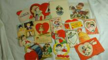 16 Vintage Valentine Cards - Good Condition