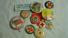 12 Vintage Pins Keene NH Bank, RI, plus