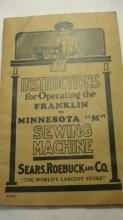 Minnesota Sewing Machine Instruction Booklet