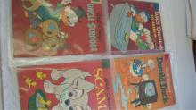 4 Walt Disney Comic Books Scamp, Scrooge, Duck