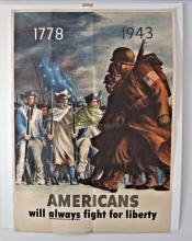 Vintage WWII Poster 1943, AMERICANS WILL ALWAYS FIGHT FOR LIBERTY