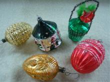 5 Blown Glass Christmas Ornaments