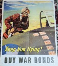 WWII Poster Keep Him Flying, Buy War Bonds 22