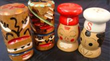 Wooden Totem Poles & Chefs Salt & Peppers Shakers