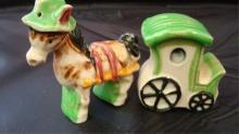 Donkey & Cart Salt & Pepper Shakers Japan 1940s