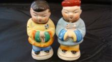 Chinese Couple Salt & Pepper Shakers 1940s Japan