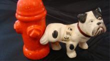 Dog & Hydrant Salt & Pepper Shakers Japan 1940's