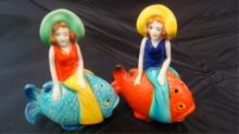 Mermaids on Fish Salt & Pepper Shakers Japan