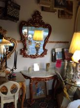 Carved Wood French Provincial Console and Mirror Set