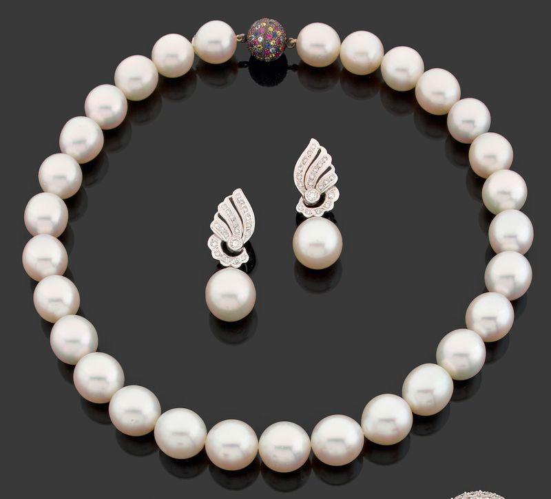 Collier en chute de perles de culture des Mers du Sud,
