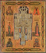Icône sur bois contenant au centre le Christ sur