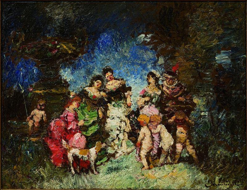 Adolphe MONTICELLI 1824-1886 - Trois femmes et un homme...