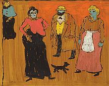 Frikret Saygi MUALLA (1903 1967) Quatre personnes accompagnées d'un chien, 1961