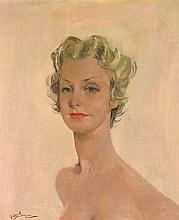 Jean-Gabriel DOMERGUE (1889-1962) Portrait de jeune femme blonde