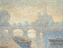 Gaston CARIOT (1872-1950) La Seine et Notre dame de Paris