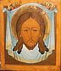 Icone sur panneau de bois représentant le voile de Sainte Véronique    30,5 - 26 cm