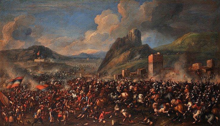 Attribué à Antonio CALZA - Choc de cavalerie