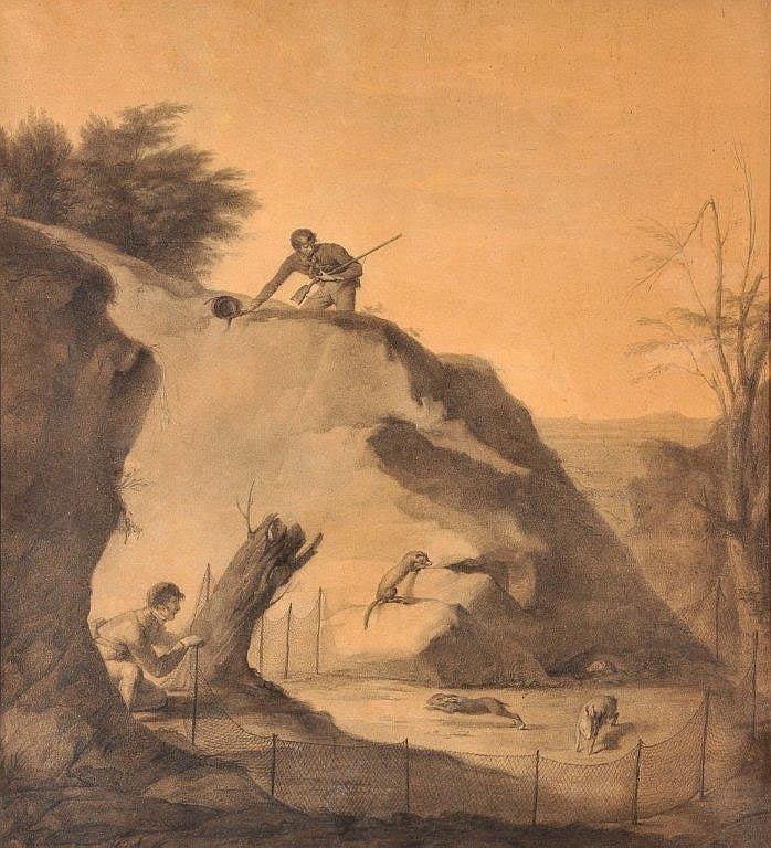 A. NIEL - Chasse au lapin avec des furets