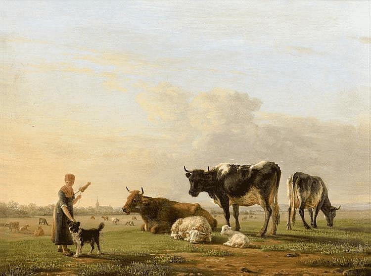 Jean-Baptiste BERRE - Jeune bergère et son chien gardant son troupeau