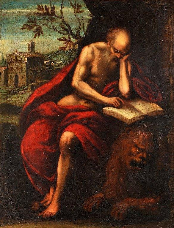 Ecole Italienne vers 1630 - Saint-Jérôme méditant