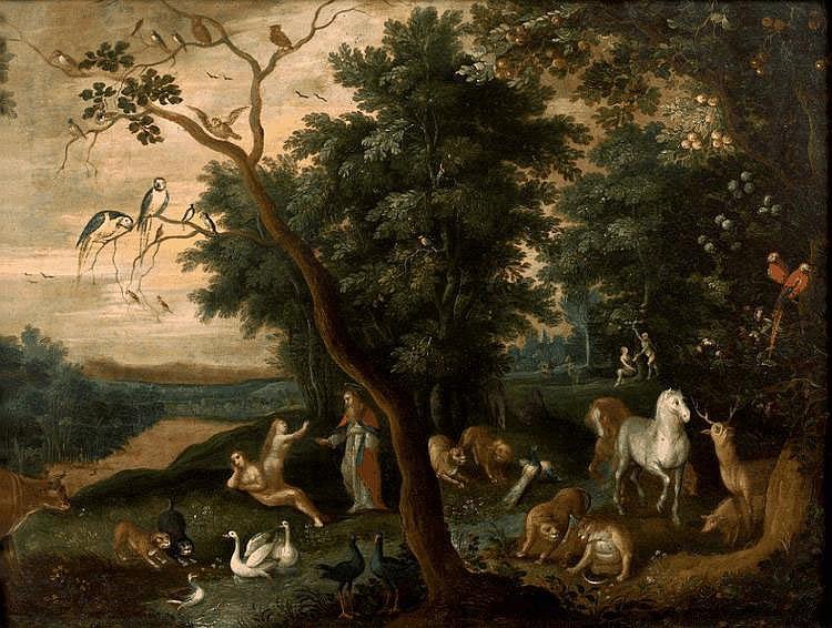 Attribué à Jacob BOUTTATS - Le paradis terrestre