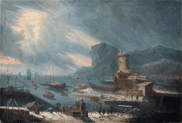 Attribué à Jean-Baptiste de La Rose - Un port méditerranéen