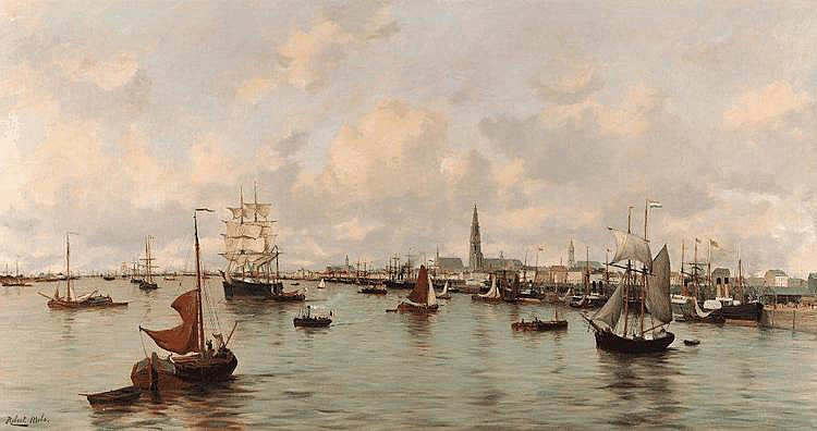 Robert MOLS - Vue du port d'Anvers