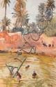 Henri Jean PONTOY - Enfants jouant dans l'oued