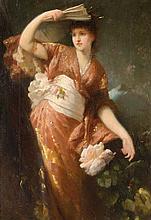 FERDINAND WAGNER (1847-1927)  Élégante en kimono  Huile sur toile signée en bas à gauche  36 x 24,5 cm