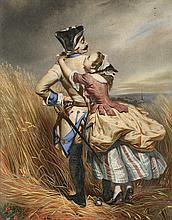 École du XIXe siècle  Couple dans les blés  Technique mixte sur papier  38 x 30 cm