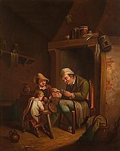 Epoque XIXe et cadres dorés XIXe.  Scène d'intérieur animée de personnages  2 huile sur cuivre