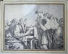 École Française  XVIIIe siècle  La bonne aventure  Crayon et Fusain sur papier  45x57 cm