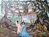 École étrangère XXe  Chemin de la paix Bangkok  Huile sur toile  55x74  Signé au dos