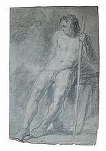École Française XVIIIe siècle  Étude nu d'un d'homme  Fusain et crayon sur papier  45 x 31 cm