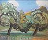 ZOU... W  École Orientale XXe siècle  Les arbres  Daté 70   Pastel sur toile  54 x 67 cm