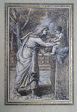 École Italienne XVIIe siècle  Femme à l'enfant dans un paysage classique arboré  Plume réhaussée de craies  18 x 13 cm