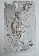 Dessin ancien époque XIXe siècle  Personnage à l'antique  Plume sur papier  (Manques et accidents)  27 x 16 cm