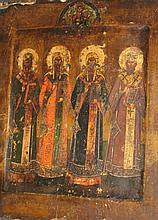 Assemblée de quatre saints : Saint Stephane, Saint Michel, Saint jean-baptiste et Sainte  Anastasia, surmontés du christ pantocrator.