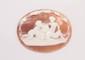 Camée sur coquillage, figurant une scène de trois puttis mangeant du raisin.      Epoque XIXe.      Dimensions : 6,0 x 4,7 cm environ.       A 19th century sculpted seashell cameo.
