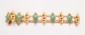 Bracelet en suite de motifs en navettes d'or jaune ciselé figurant un dragon, alternés de motifs de jade dans un entourage d'or jaune torsadé. Chaînette de sureté. Belle ciselure. Longueur : 19,5 cm environ. Poids : 30,9 g. A jade and 18K gold