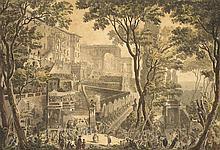 Louis Jean DESPREZ (1743-1804)  Le temple de Saramis à Pozzoli La Villa d'Este