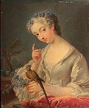 Ecole française du XVIIIème siècle.  Jeune fille mutine tenant un perroquet Cadre doré sculpté d'origine 21 x 18 cm