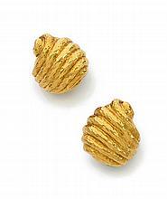 Paire de clips d'oreilles en escargot d'or jaune