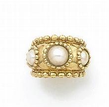 Large bague jonc en or jaune perlé, soulignée de