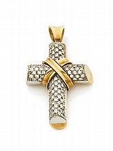 Pendentif croix en or jaune et or gris, pavé de