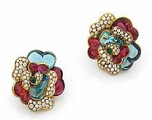 Paire de clips d'oreilles en fleur stylisée d'or